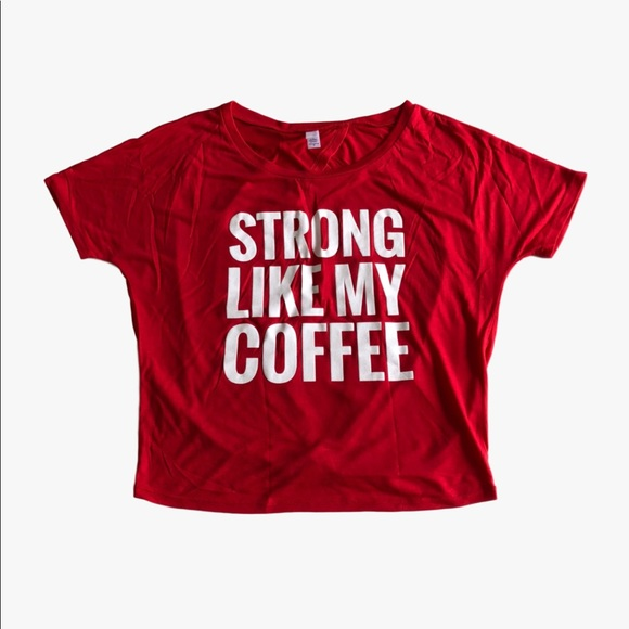 adaecc7e91f 🆕Barbell Babes Strong Like Coffee Open Back Tee M Boutique